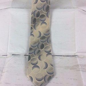 Balmain Paris Mens Geometric Gray Blue Necktie